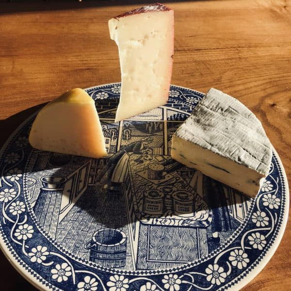 Three Cheese On Plate Yellow Red & Blue